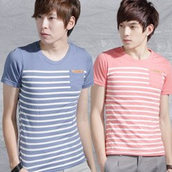 ~Monkey Shop~~C30024~ 休閒風橫條紋皮標口袋短袖T恤~4色