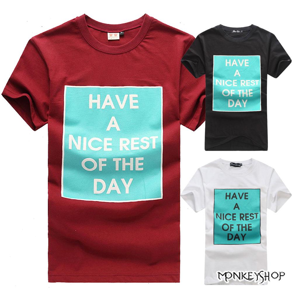 【C3011】MIT純棉方框 HAVE A NICE REST印花短袖T恤-3色《Monkey Shop》