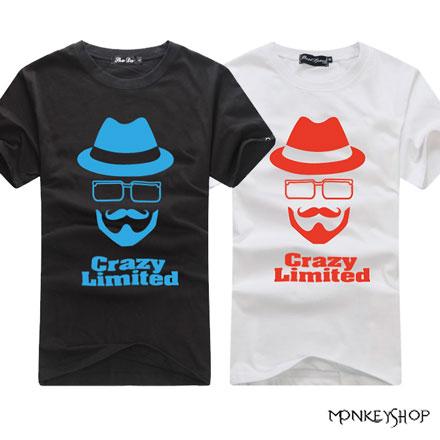 【C48001】 MIT純棉禮帽眼鏡鬍子人像圖案印花圓領棉質短T-3色《Monkey Shop》