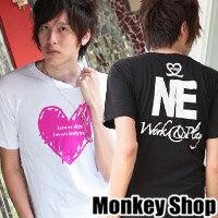 《Monkey Shop》潮流蠟筆塗鴉 原創設計愛心 情侶甜蜜設計圓領短袖T恤3色