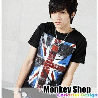 《Monkey Shop》英倫時尚龐克搖滾 大米字國旗型男墨鏡相片轉印短袖T恤 2色 就愛MIT