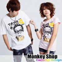 《Monkey Shop》雜誌推薦款 簡約百搭 可愛眼鏡男孩黃色點綴圖案短袖T恤3色
