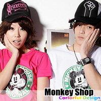 《Monkey Shop》簡約百搭 美式風格 經典復古款 米老鼠圓形圖騰斑駁洗舊設計效果短T 3色