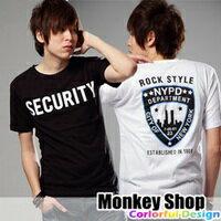《Monkey Shop》雜誌推薦款 簡約百搭 SECURITY文字背面盾牌設計圖案短T