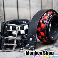 ~Monkey Shop~搖滾龐克重金屬龐克 鮮豔油漆鉚釘釦皮帶 帥氣好搭 男女 小豬小鬼