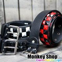 《Monkey Shop》搖滾龐克重金屬龐克 鮮豔油漆鉚釘釦皮帶 帥氣好搭 男女適用小豬小鬼