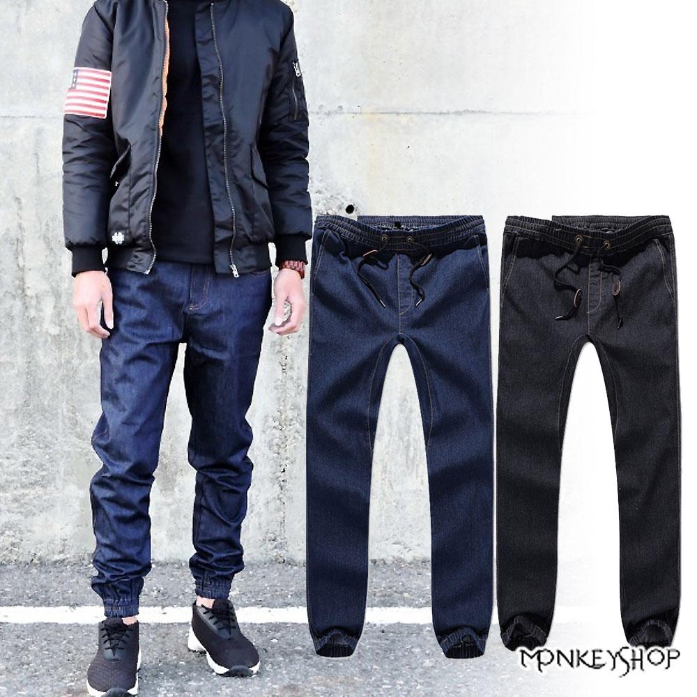 【DM1373】韓版休閒單寧牛仔束口褲慢跑褲JOGGER PANT-2色《Monkey Shop》