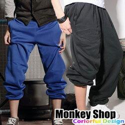 ~Monkey Shop~街頭潮流超高磅數厚棉 素面百搭純棉刷毛束口棉褲.5色 嘻哈hip