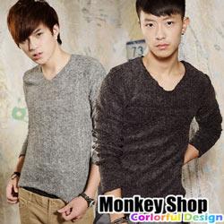 ~Monkey Shop~~JB2240~潮流風格 型男  簡約保暖素面彈性針織毛衣~四色