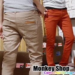 《Monkey Shop》【JB91262】全壘打↘韓國設計款S.Treasure鋼印皮標馬卡龍配色彈性窄管長褲-六色