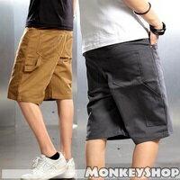 《Monkey Shop》JB9781#韓精裝無印簡約 超高磅數粗斜紋布 潮流百搭染色工作短褲 5色