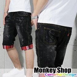 ~Monkey Shop~~JB99002~  水洗刷色潑漆刷破磨損褲管反摺 五分牛仔短褲