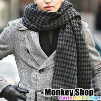 保暖配件推薦《Monkey Shop》韓國製超高質感 型男必備款 千鳥格/蘇格蘭格紋百搭流蘇寬版圍巾/披巾
