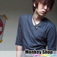《Monkey Shop》【L3503】英系暗色百搭潮流 雅痞V領素色棉質七分袖T恤 內搭/單穿 6色