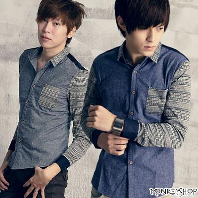 Monkey Shop:《MonkeyShop》【L8360】韓版民俗風針織拼接長袖雅痞襯衫-兩色