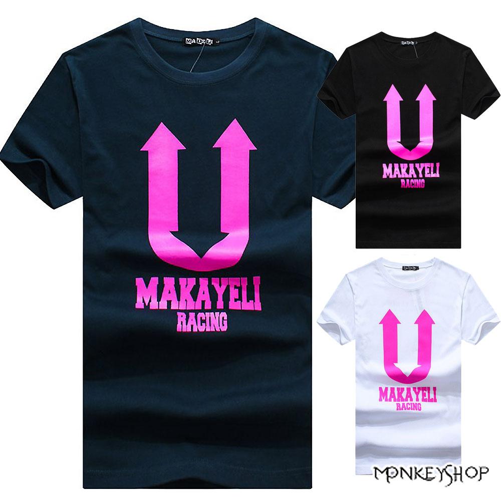 【M10007】MIT純棉螢光色圖地反轉箭頭印花短袖T恤-3色《Monkey Shop》