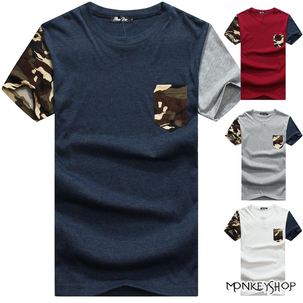 ~M10008~MIT純棉迷彩口袋撞色接袖圓領短袖T恤~4色~Monkey Shop~