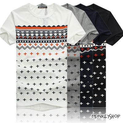【M154】韓版潮流民俗風加號圖騰印花短袖T恤-4色《MonkeyShop》