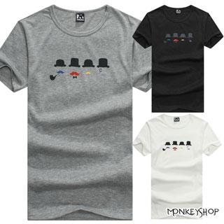 【M20005】MIT韓系簡約經典紳士翹鬍子印花圓領短袖T恤-3色《MonkeyShop》