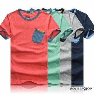 ~M20008~MIT韓系 簡約風異色口袋拼接皮標圓領短袖T恤~4色~Monkey Sho