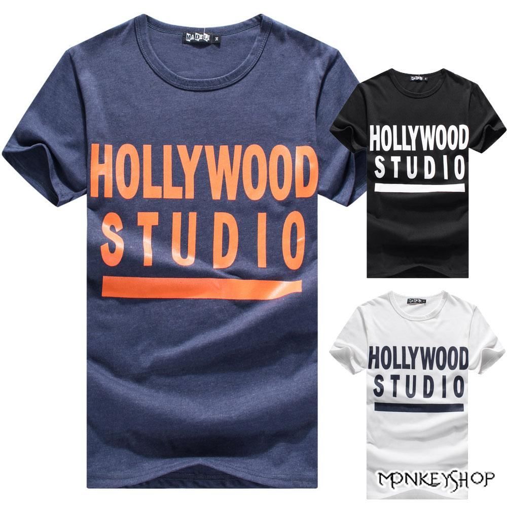 【M20027】MIT純棉韓版休閒潮流HOLLYWOOD純棉短袖T恤-3色《Monkey Shop》