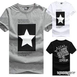 【M30027】MIT純棉情侶經典美式風格星星印花休閒圓領短袖T恤-3色《MonkeyShop》