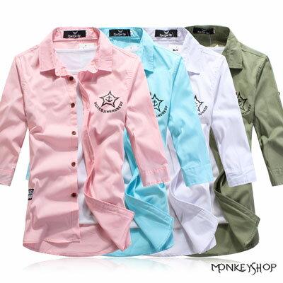 【M50030】韓版雅痞時裝質感木釦船錨印花七分袖襯衫-4色《Monkey Shop》 0