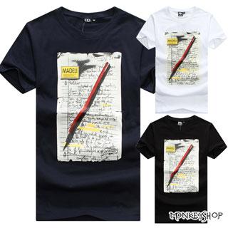 【M60103】MIT純棉情侶韓系鉛筆泛黃信紙圓領短袖圓領短袖T恤-3色《MonkeyShop》