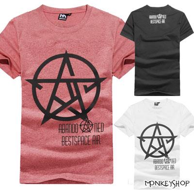 【M60216】龐克圓圈星星標章字母設計短袖T恤-3色《Monkey Shop》