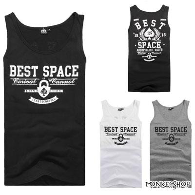 【M60217】桃心18字母BEST SPACE印花背心-3色《Monkey Shop》
