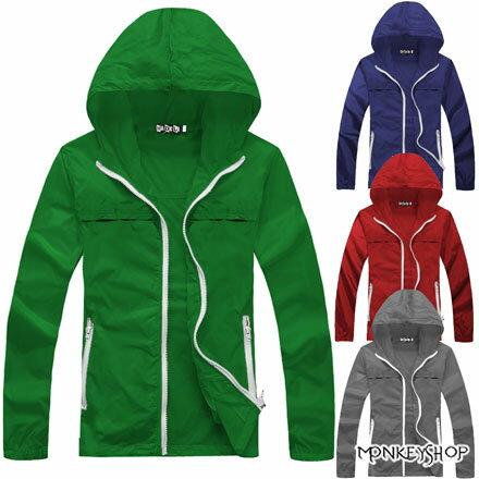 【M81066】韓版街頭潮感情侶款防風連帽風衣外套-5色《Monkey Shop》