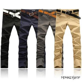 【M83760】韓版皮革拼接三角造型斜口袋窄管休閒長褲-4色《Monkey Shop》