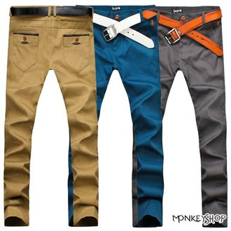 【M85803】韓版簡約皮革拼接口袋窄管休閒長褲-4色《Monkey Shop》