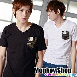 ~Monkey Shop~~T162~  迷彩口袋拼接素面V領MIT純棉短袖T恤~三色