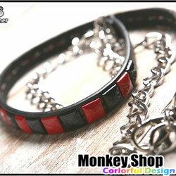 《Monkey Shop》限量特價供應 PUNK 皮質方型鉚釘 龐克搖滾褲腰鍊配件