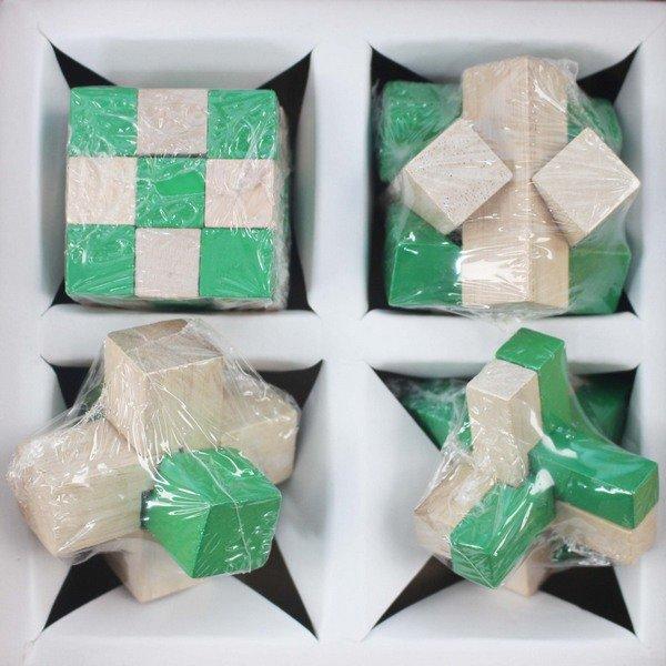 益智動腦拆卸魯班鎖 孔明鎖 木製(4款入) / 一盒4款入(促199) 智力解鎖拆裝玩具-AA6541 2