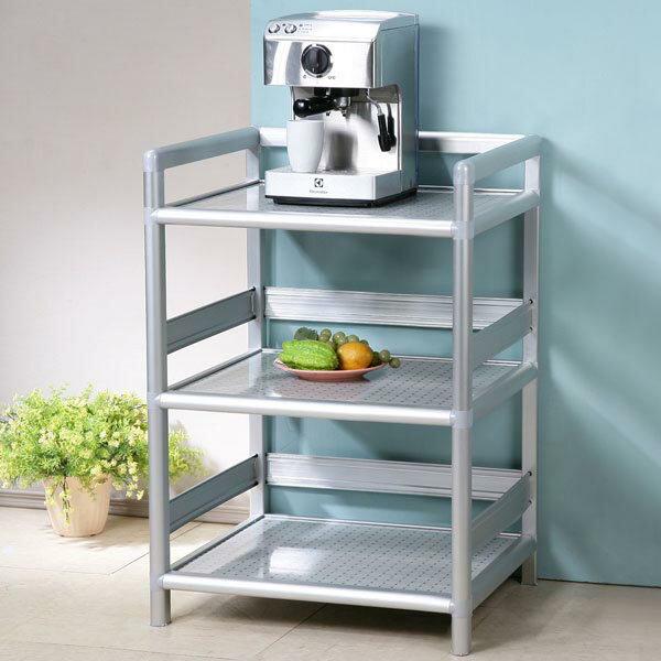 碗盤櫃 電器櫃 電器架 鋁架 收納架 櫥櫃 碗盤收納 廚房收納櫃 置物櫃 《Yostyle》鋁合金2尺三層置物架-黑花格