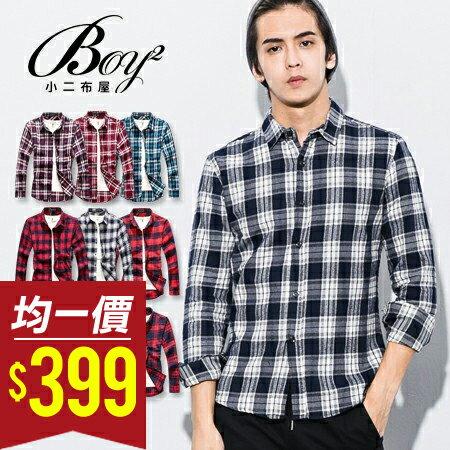 ☆BOY-2☆【NQ97012】美式休閒法蘭絨格紋長袖襯衫(M.L)