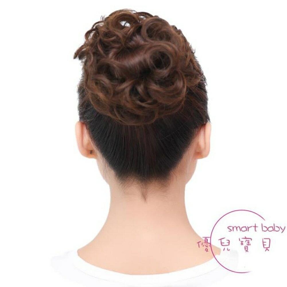 假髮女髮圈頭花丸子盤髮花苞頭髮飾造型髮包仿皮質筋頭繩蓬鬆頭花