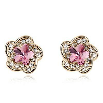 ~水晶耳環 925純銀耳飾~鑲鑽小花朵 精緻女飾品5色73bd39~ ~~米蘭 ~