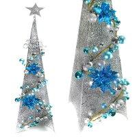 幫家裡聖誕佈置裝飾到180CM銀藍色系聖誕裝飾四角樹塔(不含燈)YS-XDS016023