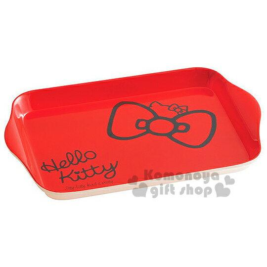 〔小禮堂〕Hello Kitty 美耐皿托盤《紅.蝴蝶結.半大臉》增添用餐樂趣