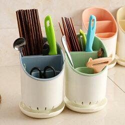 PS Mall 創意廚房餐具筷子收納瀝水桶 置物架【J2441】