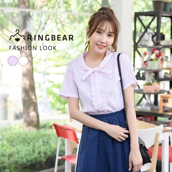 襯衫--OL首選專業自信胸前荷葉邊設計蝴蝶領扣彈性短袖襯衫(白.粉M-4L)-H176眼圈熊中大尺碼