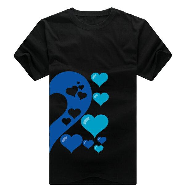 ◆快速出貨◆獨家配對情侶裝.客製化.T恤.最佳情侶裝.獨家款.純棉短T.MIT台灣製.藍色簍空愛心【Y0021】可單買.艾咪E舖 5