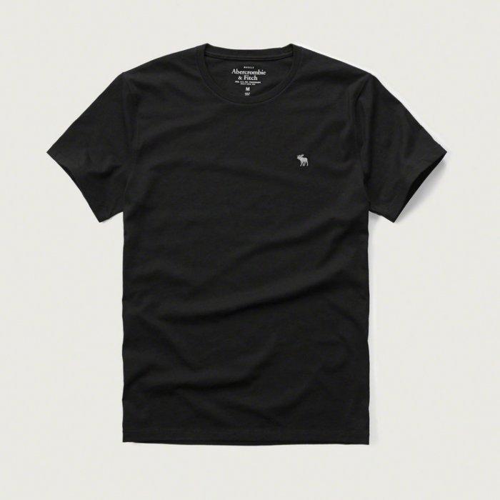 美國百分百【Abercrombie & Fitch】T恤 AF 短袖 上衣 T-shirt 麋鹿 素T 黑色 S M L XL號E709