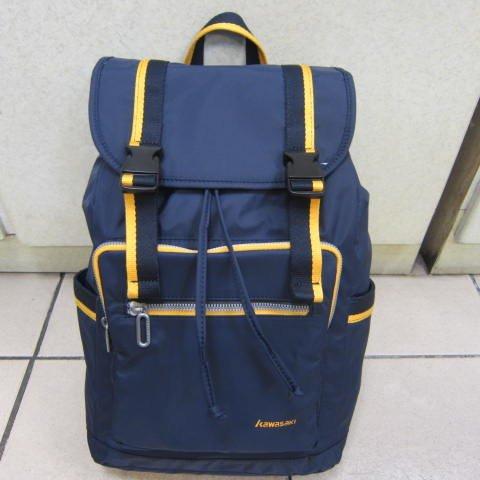 ~雪黛屋~Kawasaki 超輕休閒後背包可A4資夾外出郊遊上學上班萬用包超輕防水尼龍布材質KA188藍(小)