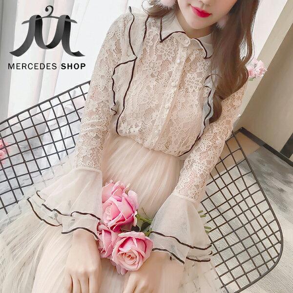 《全店75折》韓國兩件套宮廷收腰蕾絲拼接網紗連身裙長袖洋裝(M-L,2色)-梅西蒂絲(現貨+預購)