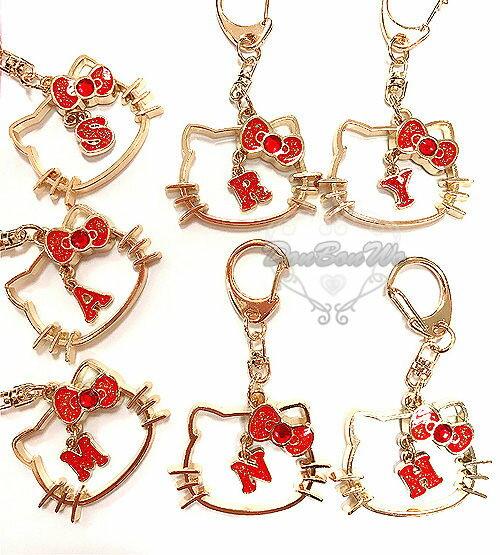 kitty閃亮鑰匙圈吊飾英文字母頭型水鑽490198
