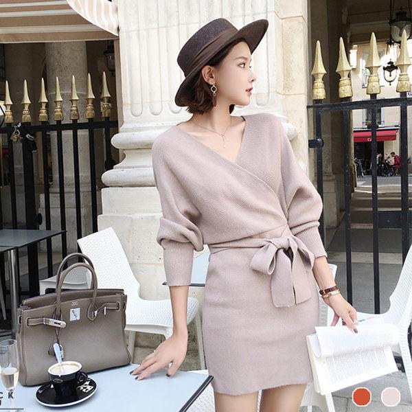 PS Mall V領蝙蝠袖針織連身裙 長裙 連身洋裝【T1721】 - 限時優惠好康折扣